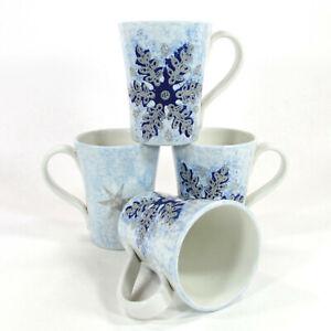 Target Home WINTER FROST SNOWFLAKE 12oz Mug Set Christmas Italy Ceramiche Umbre
