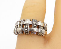 925 Sterling Silver - Vintage Marcasite Basket Weave Band Ring Sz 7.5 - R16892
