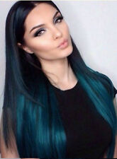 """Ombre Clip in Hair Extensions Dk Brown to Turquoise Dip Dyed 17""""  free xpress"""