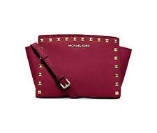 NWT MICHAEL Michael Kors Selma Studded Saffiano Medium Messenger Bag CHERRY $248