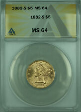 1882-S Liberty Half Eagle $5 Gold Coin ANACS MS-64 (B)