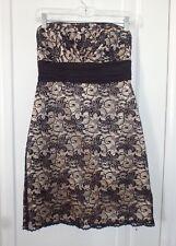 White House Black Market WHBM Womens 4 Small Black Lace Strapless Beaded Dress