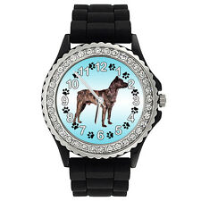 Cao Fila de Sao Miguel Dog Crystal Rhinestone Mens Ladies Silicone Watch SG201P