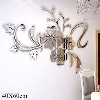 3D Spiegel Blume Aufkleber Wand Aufkleber DIY abnehmbare Dekor ^