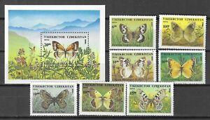 Uzbekistan 1995 Insects Butterfly Schmetterlinge Papillons compl. set + SS MNH