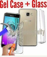 HD Tempered Glass Protector + Clear Silicone Gel Case Cover Samsung A3 (7) 2017