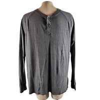 Men's The North Face Grey Long Sleeve 2 Button Collar Tee Shirt Size Large