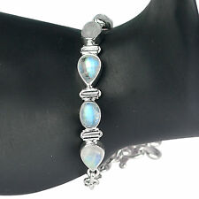 Natural Rainbow moonstone gemstone bracelet 925 Sterling silver Jewelry 13.57 g