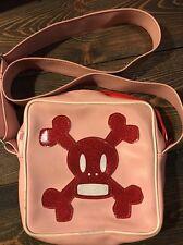 Vintage Late 1990s Paul Frank Scurvy Skull Crossbones Pink Glitter Purse Handbag