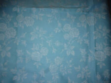 ancien tissu textile coutil toile matelas damas bleu fleur rose bourgeon 100x165