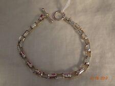 "Sterling Silver Rectangular Link Bracelet with Toggle Closure - 7 1/2"""