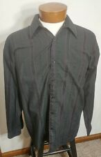 Pavo By Lastrada Long Sleeve Button Front Men's Shirt Black and Wine Striped L