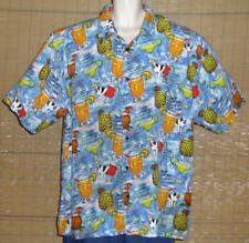 Big Dogs Hawaiian Shirt Light Blue Red Yellow Green Cocktail Recipes Size 2X