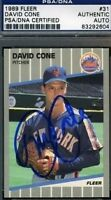 David Cone Signed 1989 Fleer Psa/dna Certed Autograph Authentic