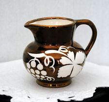 Grays Pottery Copper Lustre Creamer Pitcher Grape Floral Decoration Signed