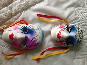 "Gorgeous Small Hand Painted Porcelain Masks 4 1/2"" x 3"" Art Decor"