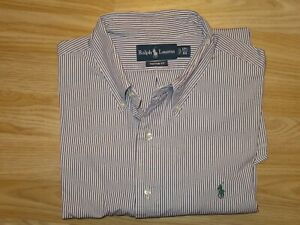 "Mens RALPH LAUREN Purple Striped Custom Fit Shirt Top 17.5""/44 approx XXL GREAT"