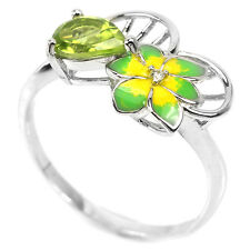 Natural PERIDOT & Cubic Zirconia  925 STERLING SILVER Enamel Flower RING S7.0