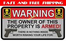 Owner is Armed Warning Sticker - 2nd Amendment Vinyl Decal USA United States