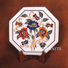 "15"" Marble Corner End Table Top Rose Flower Handicraft Heritage Inlaid Work"