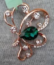 Green Glass, White Austrian Crystal Butterfly Brooch in Rosetone-FREE SHIPPING