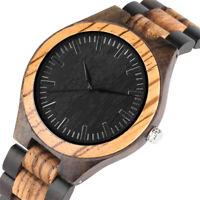 Mens Classic Wooden Watch Folding Clasp Handmade Natural Quartz Wristwatch