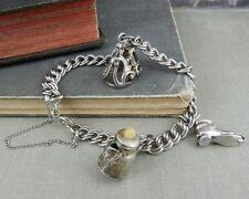 Vintage Sterling Silver Charm Bracelet with Teapot & Shoe