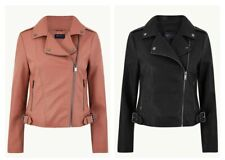 Women's Ex M&S Biker Jacket Faux Leather Black and Blush UK Sizes 6 to 22