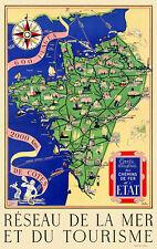 Affiche chemin de fer Etat - Carte illustrée