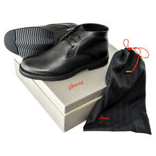 BRIONI Black Leather Shearling Fur Chukka Boots Shoes EU 8 US 9 EEE Wide NIB