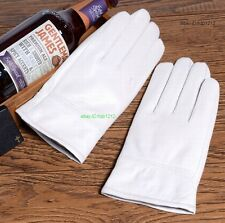 New White Men's (100% Real Leather) Winter Warm Gloves, Driving / Wedding Gloves
