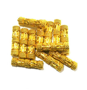 30 PIECES 20X5MM SOLID COPPER BALI TUBE BEAD 18K GOLD PLATED 314