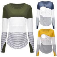 Women Pregnant Nursing Maternity Long Sleeve Tops Splice Stripe Blouse Tee Shirt