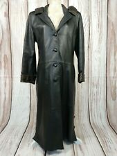 Ladies Vintage Real Leather Hooded Goth Steampunk Long Coat Overcoat L/XL