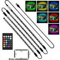 PC TV LED Backlight 4pcs 50CM USB RGB 5050 Strip Light Remote Kit 5V 30Leds/M US