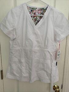Koi By Kathy Peterson Scrub Top Katelyn Mock Wrap Size Medium White New