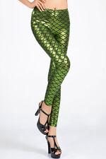 Womens green metallic mermaid fish scale leggings fancy dress size 8 & 10