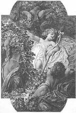 Mythology BACCHUS GOD OF WINE IN FOREST NUDE CHERUBS ~ 1879 Art Print Engraving