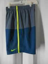 NIKE Swim Shorts Trunks Medium gray blue elastic waist NWT