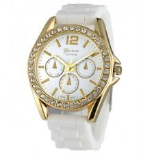 Geneva Gold Rhinestone Bezel Silicon Strap Watch 9707 - White COD Paypal