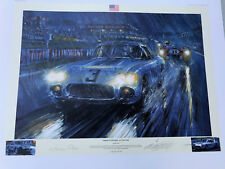 JOHN FITCH, HAND SIGNED NIC WATTS 1960 CORVETTE LEMANS 24 HR WIN PRINT 25X32 IN.