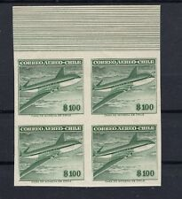 CHILE 1956-60 aircrafts NO watermark 100 pesos imperforate proof MNH block of 4