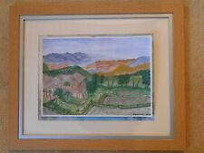 Bali rice fields and mountains,original acrylic painting on large W/C Paper