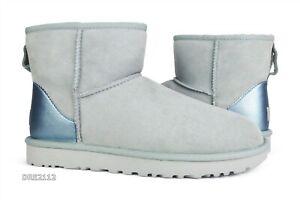 UGG Classic Mini Metallic II Iceberg Fur Boots Womens Size 9 *NIB*