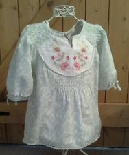VERY PRETTY GIRLS GREEN AND WHITE SUMMER NEXT TOP EMBROIDERY AGE 11/2- 2 YEARS