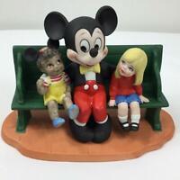 Vintage Mickey & Kids on Bench Disneyland Walt Disney World Porcelain  Figurine