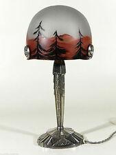 France ART DECO Metall Glas Lampe ° bemalte Pilzlampe
