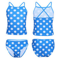 Girls Polka Dots Criss Cross Back Swimsuit Tankini Sets Swim Top with Bottoms