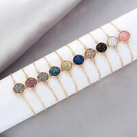 Women Druzy Natural Geode Stone Bangles Rhinestone Bracelet Charm Jewellery Gift