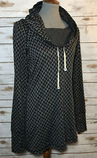 Betabrand Sweater Cowl Neck Tunic In Chevron Gray Black Hood Long Rayon Blend